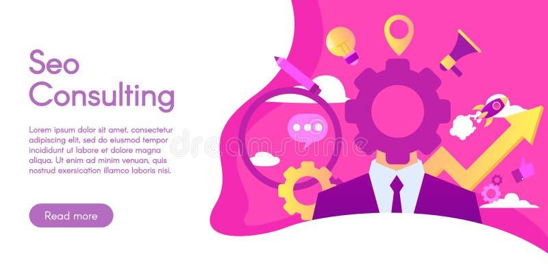 Concept de Seo Consulting, illustration de vecteur dans la conception plate image stock