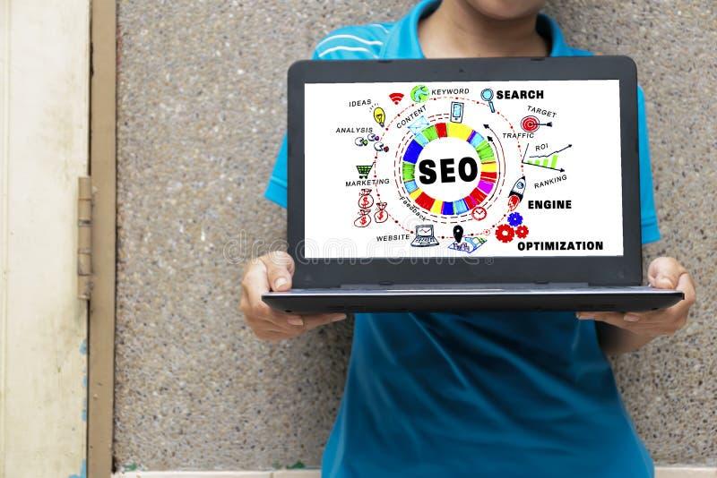 Concept de SEO La femme tient son ordinateur portable L'information b de découverte photographie stock