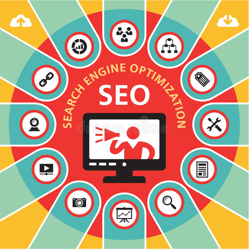 Concept 4 de SEO (optimisation de moteur de recherche) Infographic illustration libre de droits