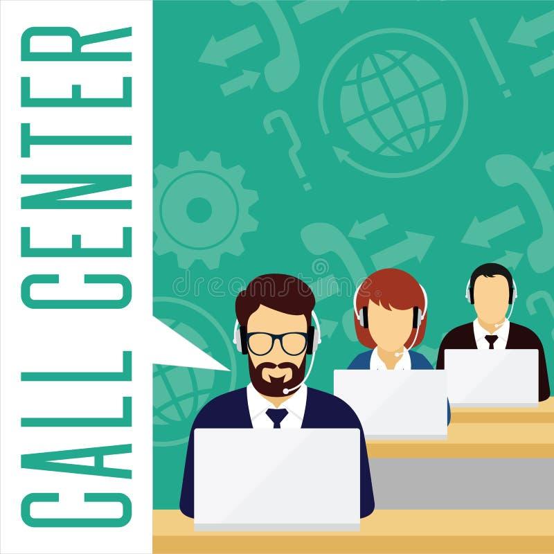 Concept de service client de vecteur Centre d'attention téléphonique illustration stock