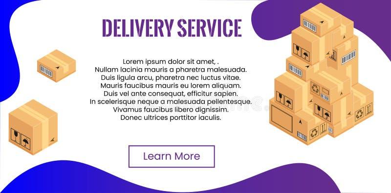 Concept de service de distribution Pile de boîtes pour embarquer, relocalisation illustration de vecteur