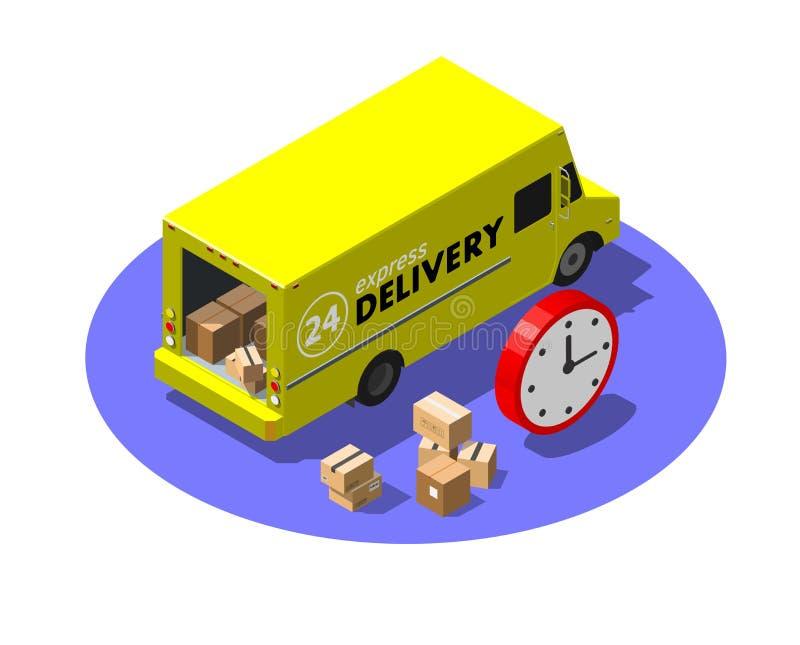 Concept de service de livraison express avec les colis jaunes de fourgon et de carton Illustration isométrique moderne de vecteur illustration stock