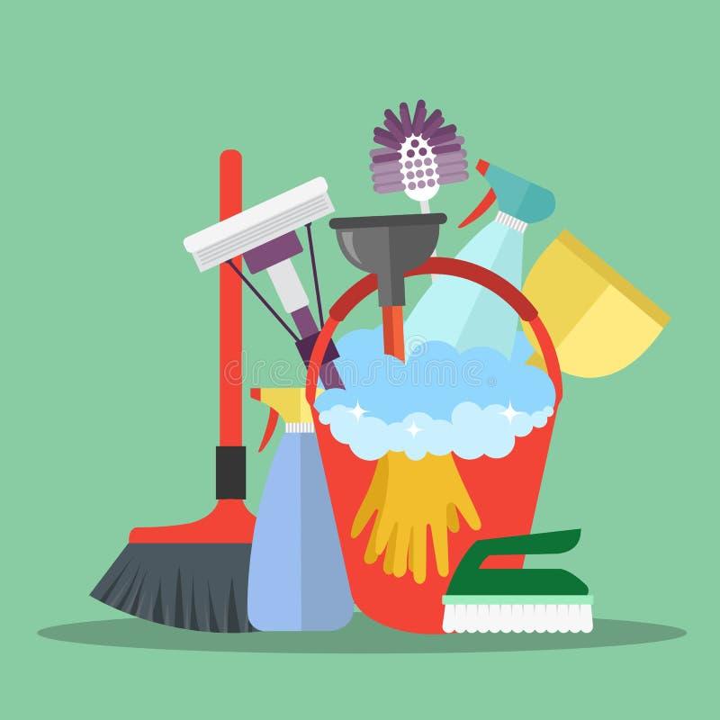 Concept de service de nettoyage d'équipement Calibre d'affiche pour des services de nettoyage de maison avec de divers outils illustration de vecteur