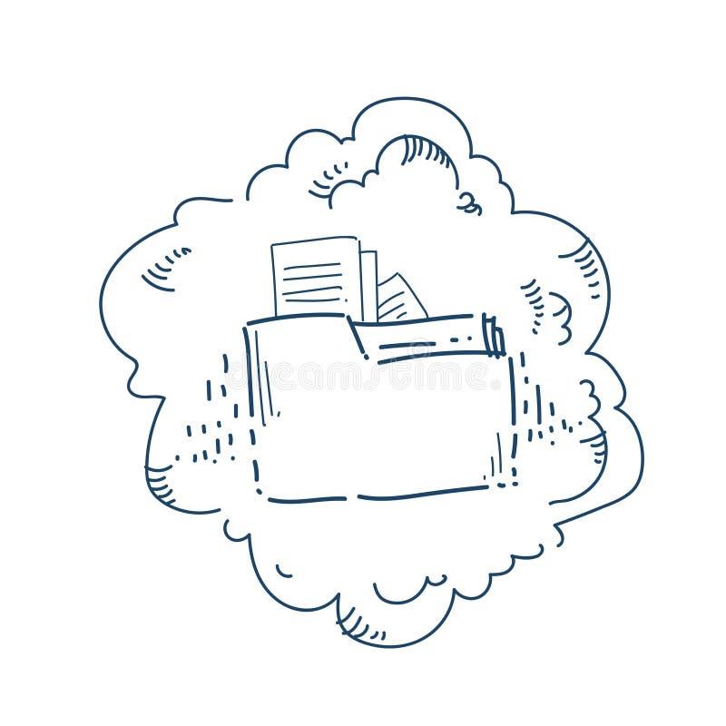 Concept de service de partage de fichiers de dossier de stockage de données de nuage au-dessus de la bannière blanche de griffonn illustration libre de droits