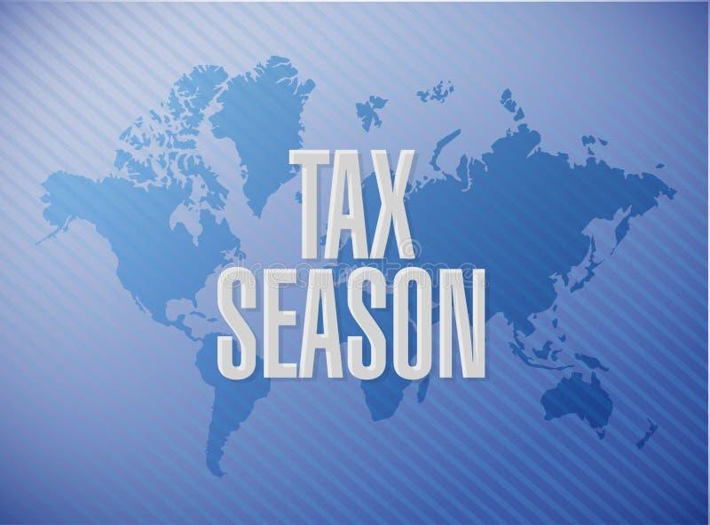 concept de signe de carte du monde de saison d'impôts illustration stock