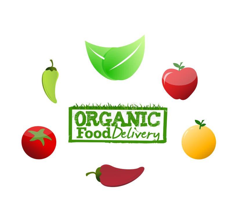 Concept de signe de la livraison d'aliment biologique illustration de vecteur