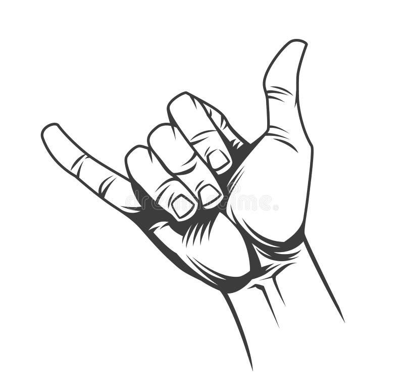 Concept de signe de surfer ou de main de shaka illustration libre de droits
