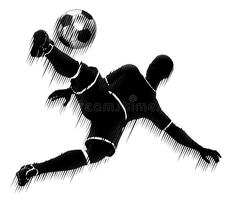 Concept de silhouette de sports du football de footballeur illustration stock