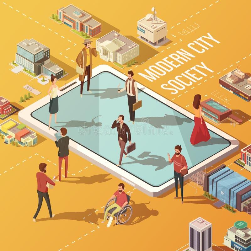 Concept de société de ville illustration de vecteur