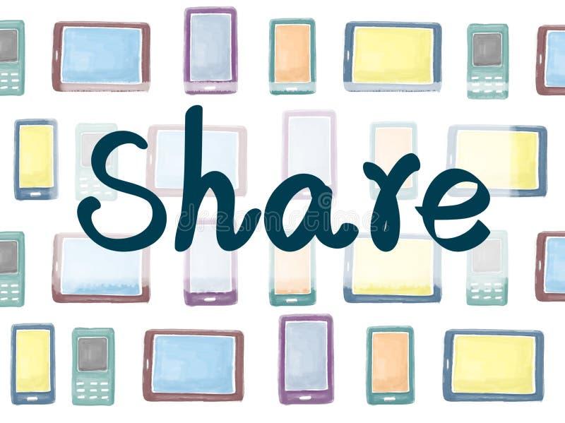 Concept de Social de travail d'équipe de communication de connexion de part illustration stock