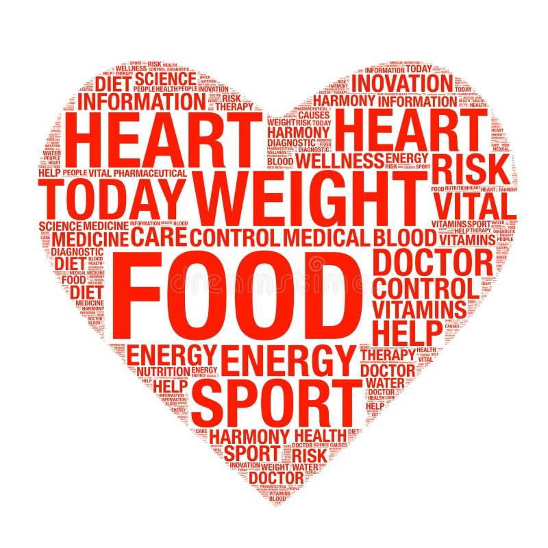 Concept de soins de santé fait avec des mots dessinant comme coeur illustration stock