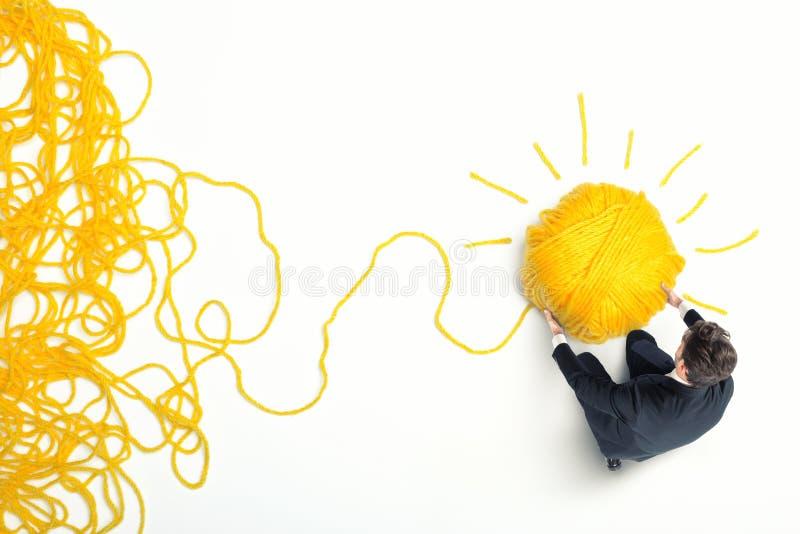 Concept de solution et d'innovation avec la boule de laine image libre de droits