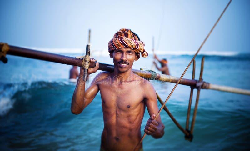 Concept de sourire de Portrait Cultural Fishing de pêcheur photos libres de droits