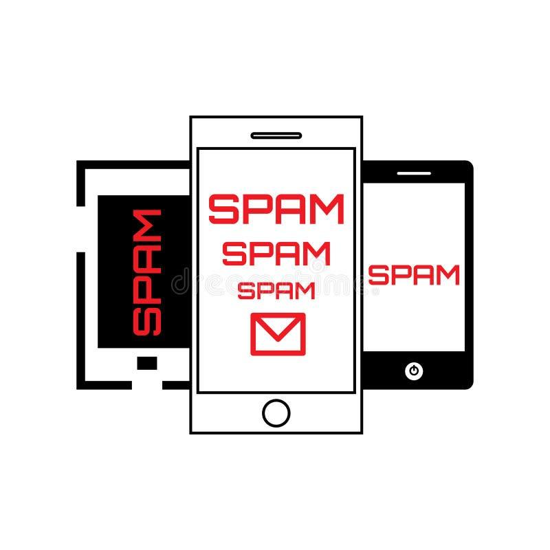 Concept de Spam avec le courrier et le téléphone illustration de vecteur