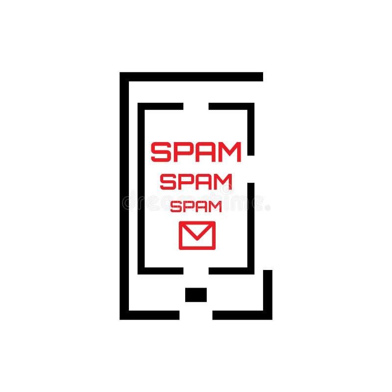 Concept de Spam avec le courrier et le téléphone illustration stock