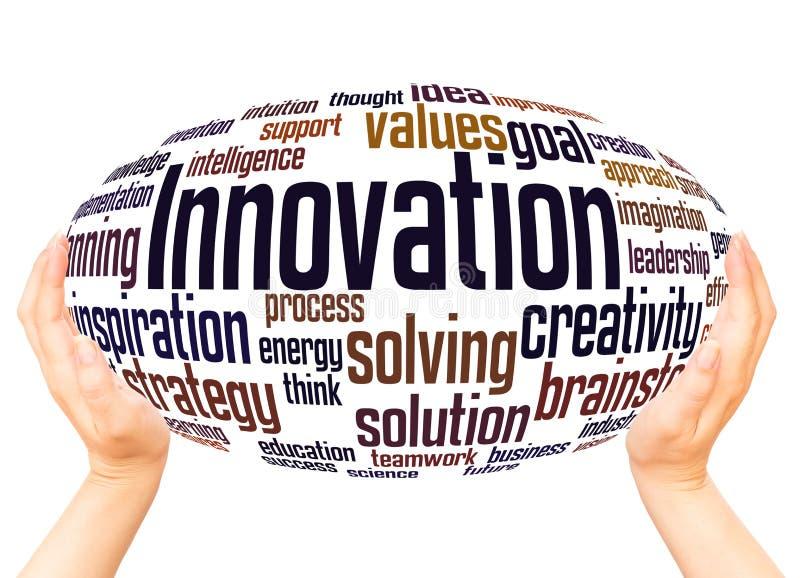 Concept de sphère de main de nuage de mot d'innovation illustration de vecteur