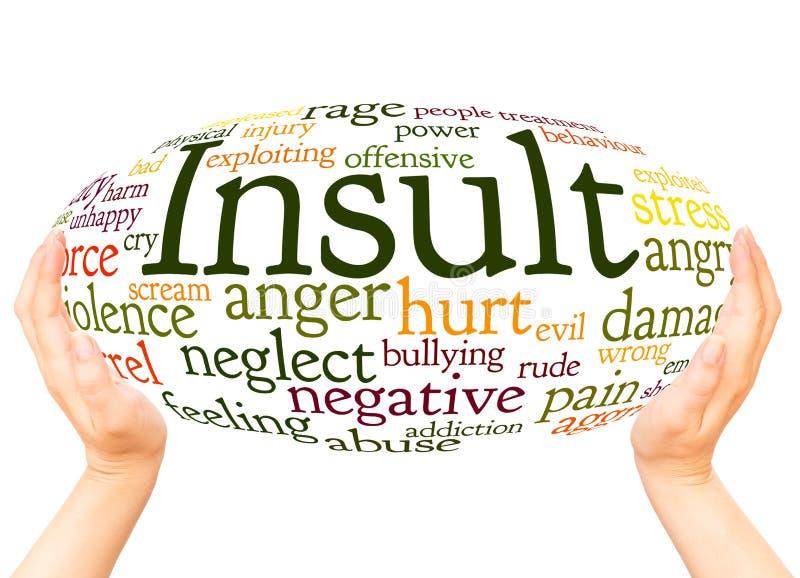 Concept de sphère de main de nuage de mot d'insulte image stock