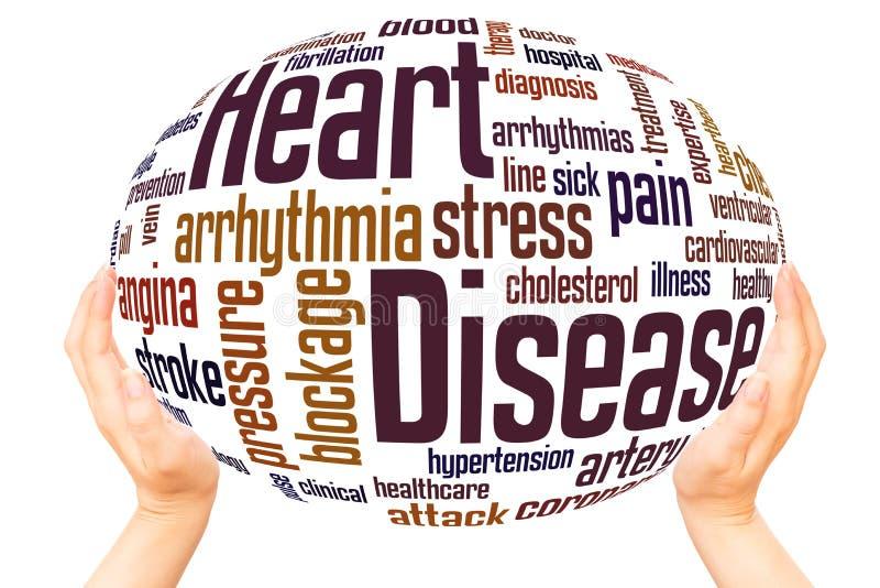 Concept de sphère de main de nuage de mot de maladie cardiaque illustration libre de droits