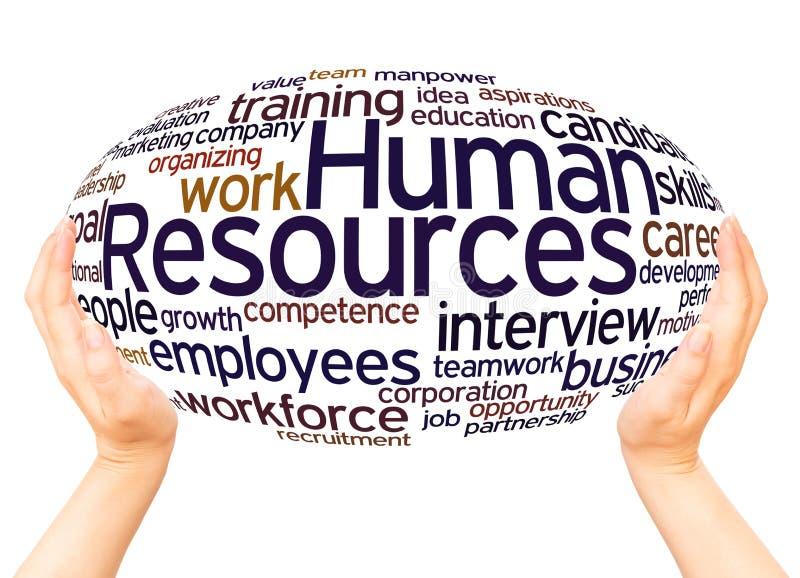Concept de sphère de main de nuage de mot de ressources humaines illustration de vecteur