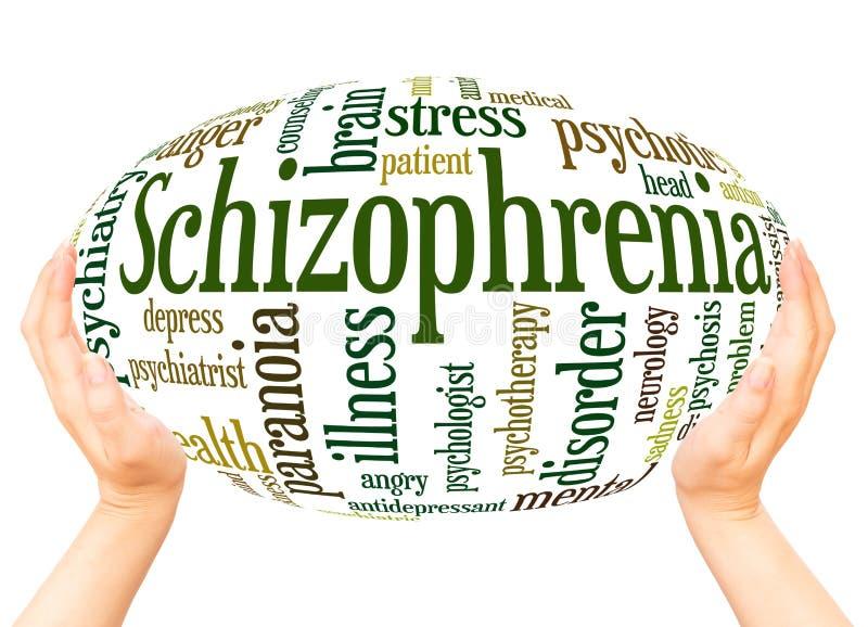 Concept de sphère de main de nuage de mot de schizophrénie illustration de vecteur