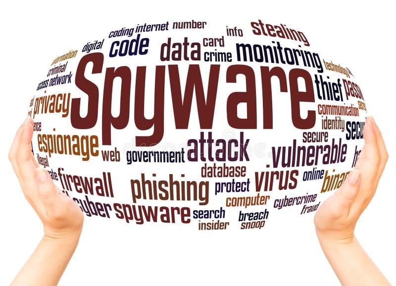 Concept de sphère de main de nuage de mot de Spyware illustration libre de droits