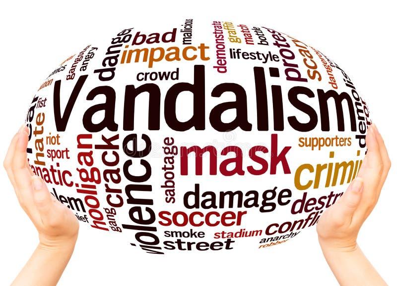 Concept de sphère de main de nuage de mot de vandalisme illustration stock