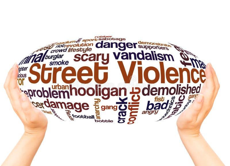 Concept de sphère de main de nuage de mot de violence de rue illustration de vecteur