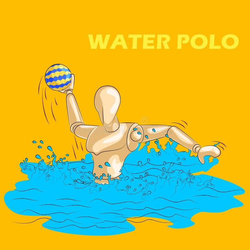 Concept de sporten van het Waterpolo met houten menselijke ledenpop vector illustratie