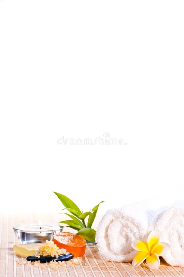 Concept de station thermale sur le couvre-tapis en bambou image stock