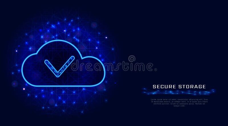 Concept de stockage de données ou de calcul de nuage Technique de protection de Cyber avec le fond et le coche polygonaux bleus d illustration stock