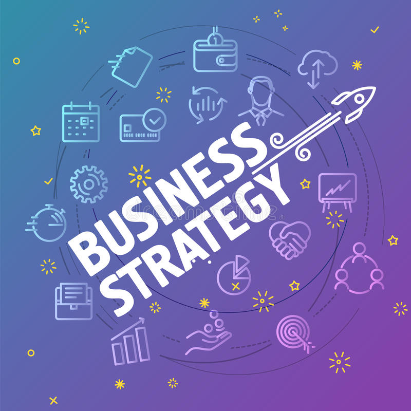 Concept de stratégie commerciale Ligne mince différente icônes illustration de vecteur