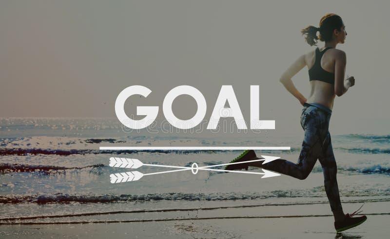 Concept de stratégie de but de but d'aspirations de cible de buts image stock