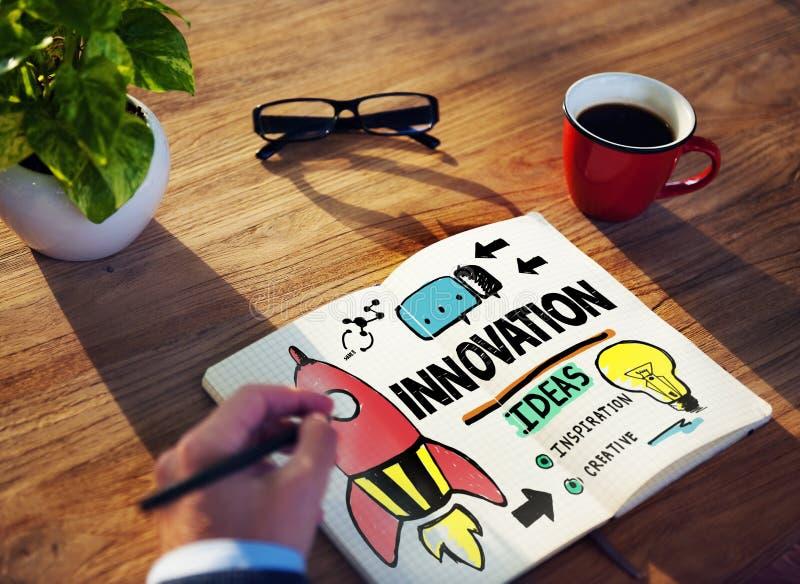 Concept de stratégie de mission de créativité de plan d'action d'innovation photo stock
