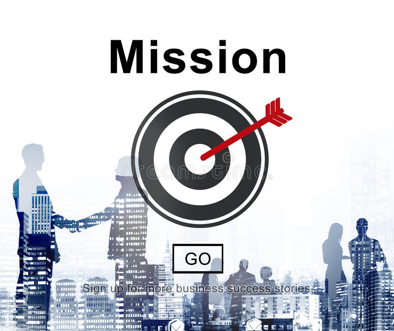 Concept de stratégie de motivation d'aspirations de cible de buts de mission illustration de vecteur