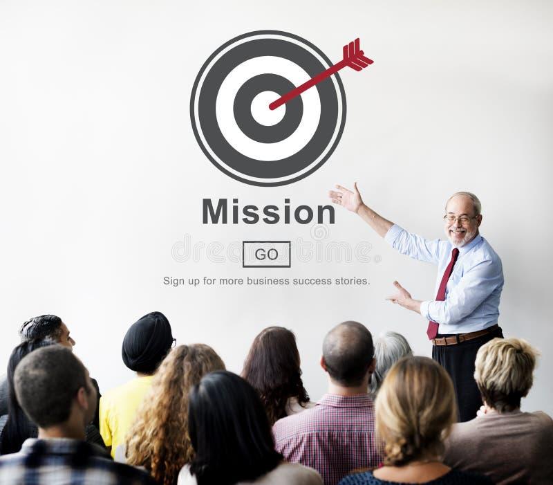 Concept de stratégie de vision de cible de buts d'objectif de mission images libres de droits