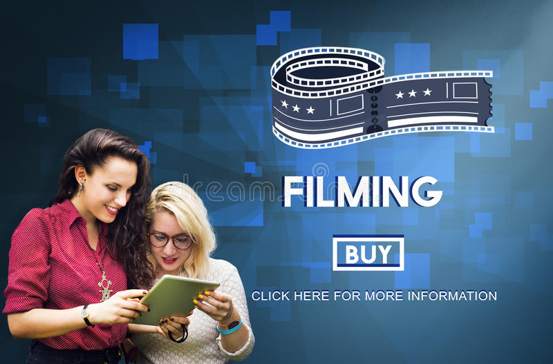Concept de studio de production de film de media de cinéma de pelliculage photos libres de droits