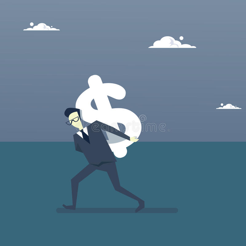 Concept de succès de finances d'argent de Rich Business Man Hold Dollar illustration libre de droits