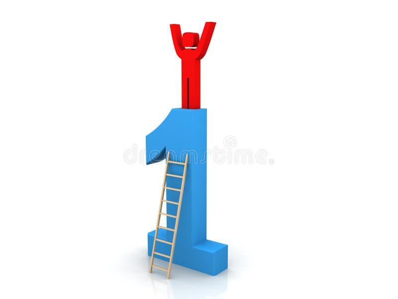 Concept de succès, homme 3d se tenant sur le principal 1 illustration de vecteur