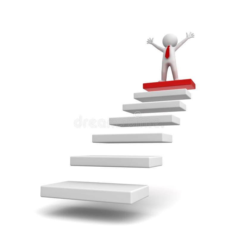 Concept de succès, homme des affaires 3d se tenant avec des bras grands ouverts sur des étapes illustration libre de droits
