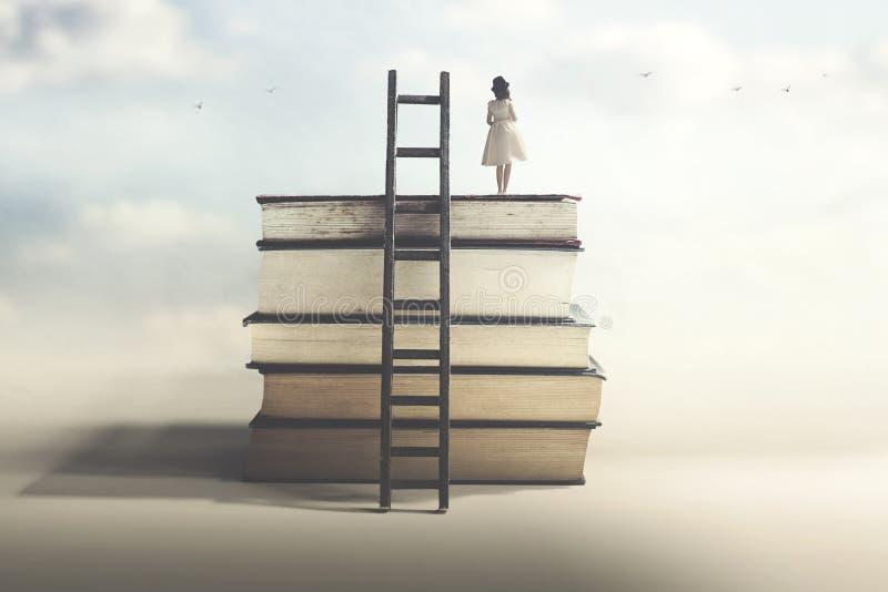 Concept de succès réalisé avec l'éducation et la sagesse photographie stock libre de droits