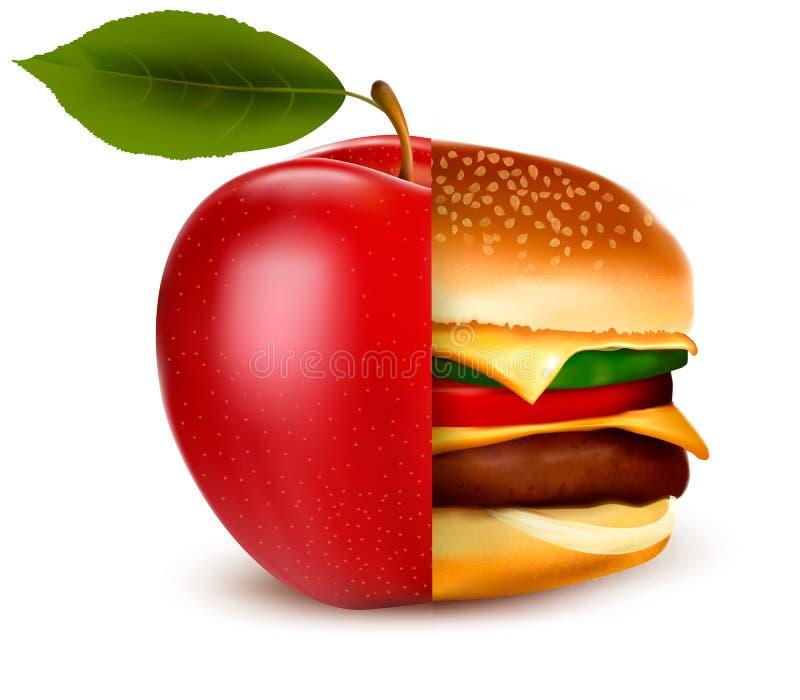 Concept de suivre un régime Choix sain et malsain de nourriture illustration stock