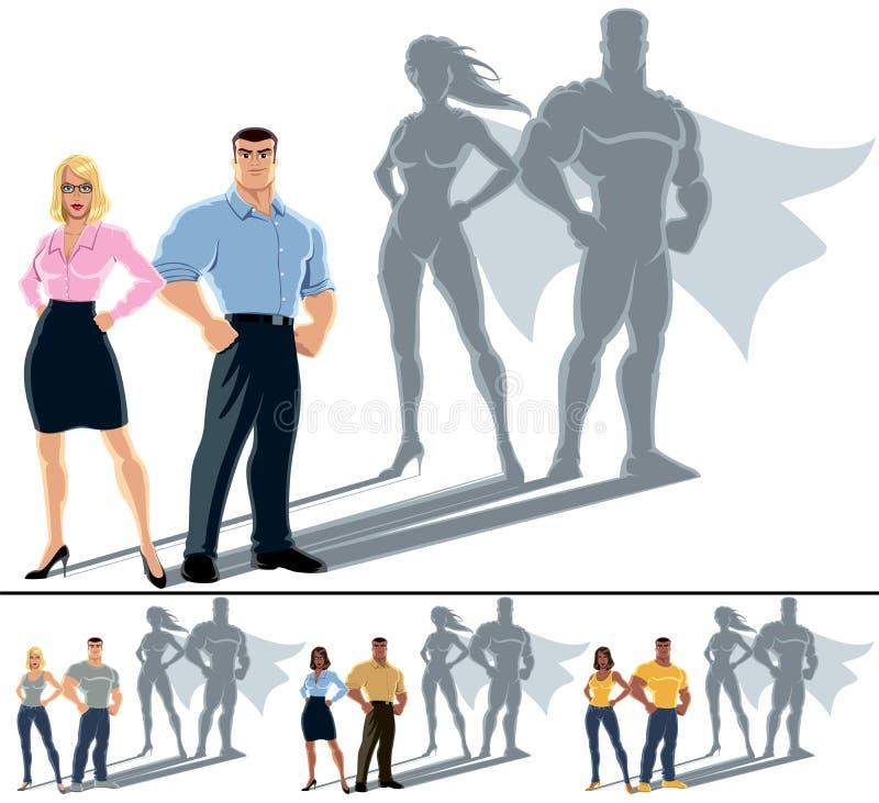 Concept de super héros de couples illustration stock