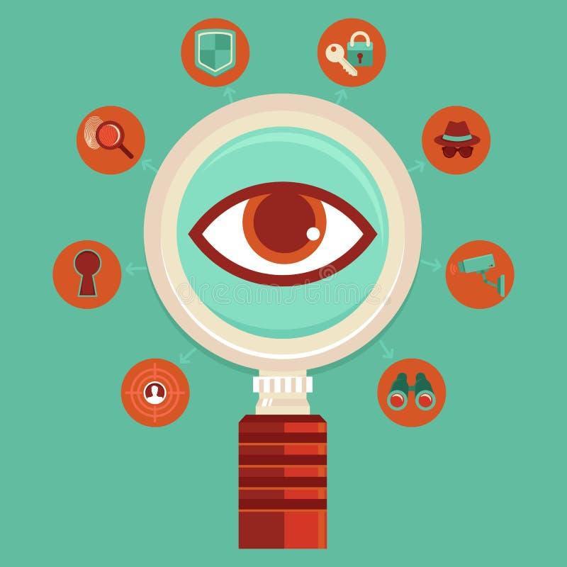 Concept de surveillance et de contrôle de vecteur illustration de vecteur