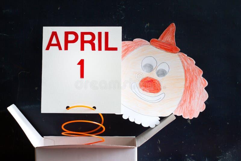 Concept de symbole de jour d'imbéciles d'avril avec le clown photographie stock