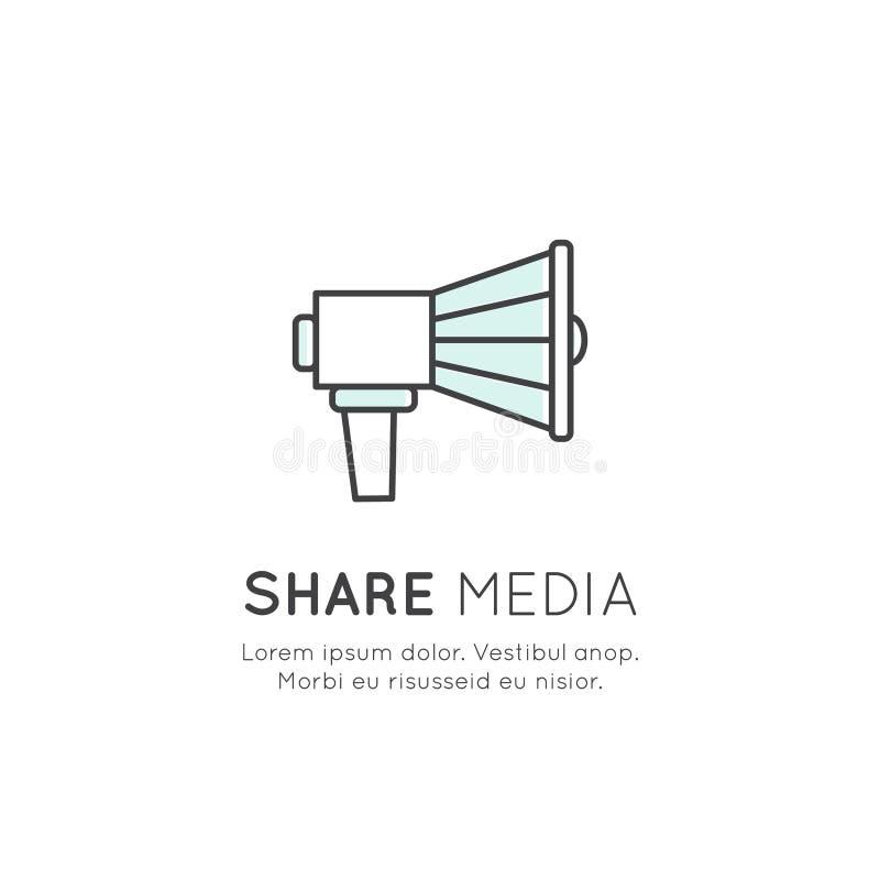 Concept de symbole similaire d'appréciation, pouce, part, haut-parleur, mégaphone illustration libre de droits