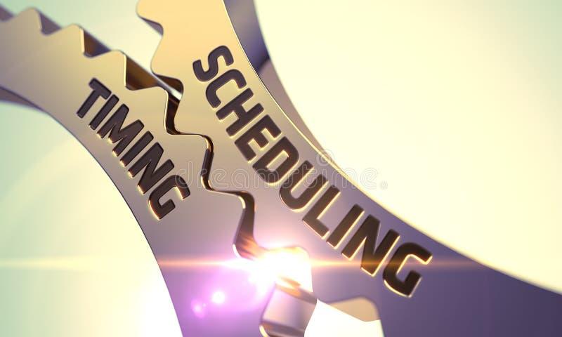 Concept de synchronisation de Scheduling Vitesses métalliques d'or de dent 3d illustration de vecteur
