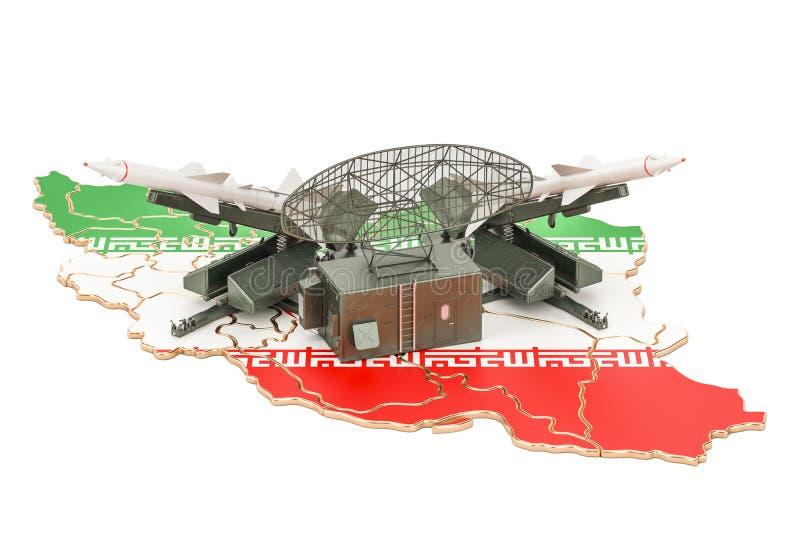 Concept de système iranien de la défense de missile, rendu 3D illustration libre de droits