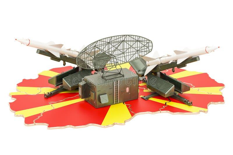 Concept de système de la défense de missile de Macédoine, rendu 3D illustration de vecteur