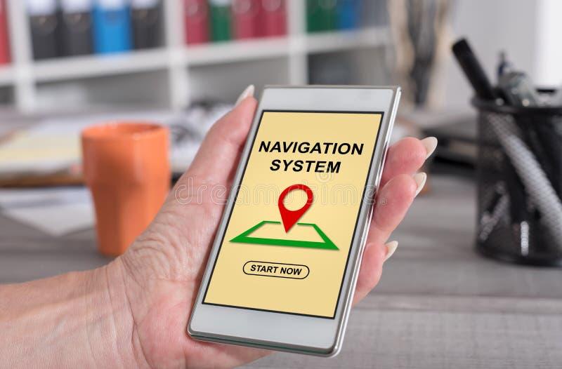 Concept de système de navigation sur un smartphone photo libre de droits