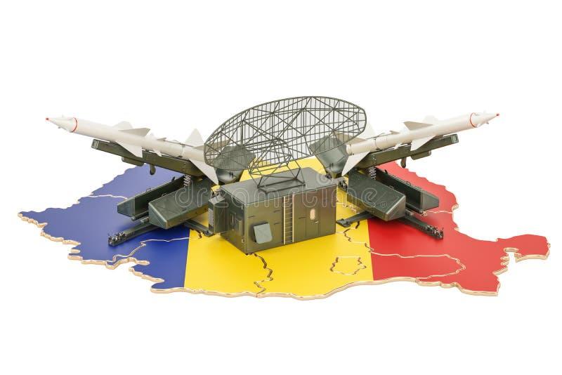 Concept de système roumain de la défense de missile, rendu 3D illustration libre de droits